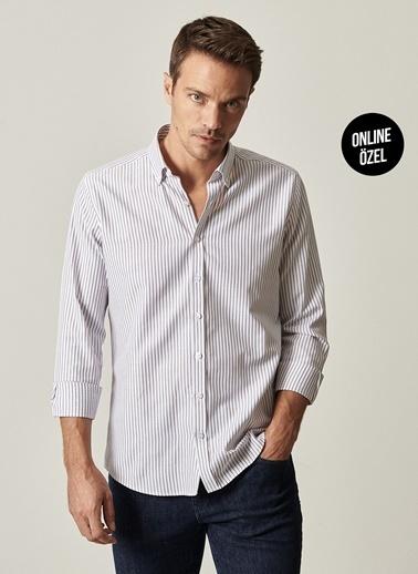 AC&Co / Altınyıldız Classics Tailored Slim Fit Dar Kesim Düğmeli Yaka Çizgili Gömlek 4A2021100064 Beyaz